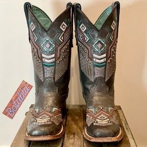 CORRAL Studded Aztec Square Toe Cowboy Boots 6.5
